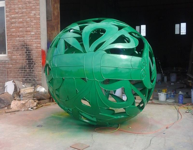 globe sculpture metal