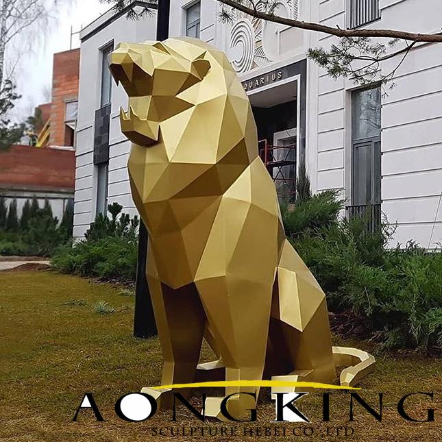 geometric lion statue sculpture
