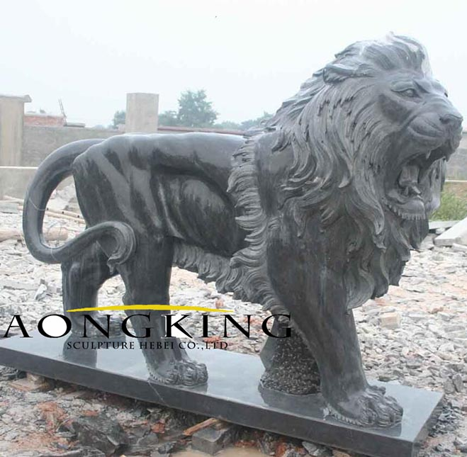 lion statues black marble