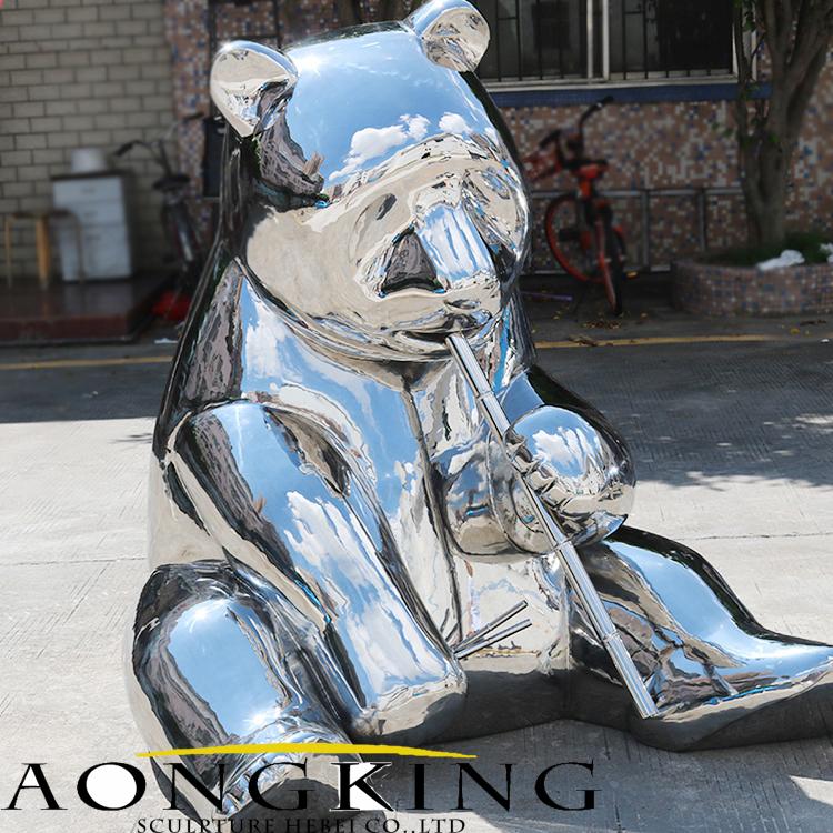 stainless steel panda statue