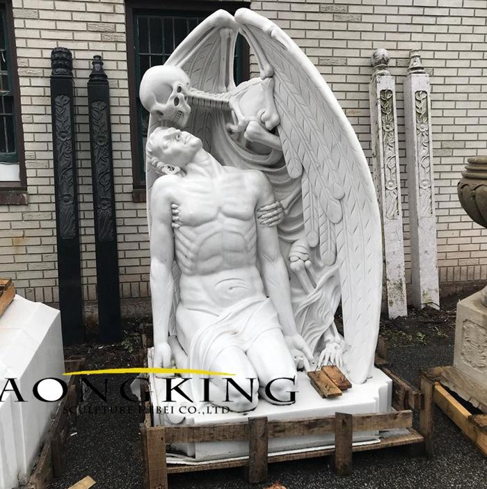 mythilogical lifesize marble statues Devil's skull angel