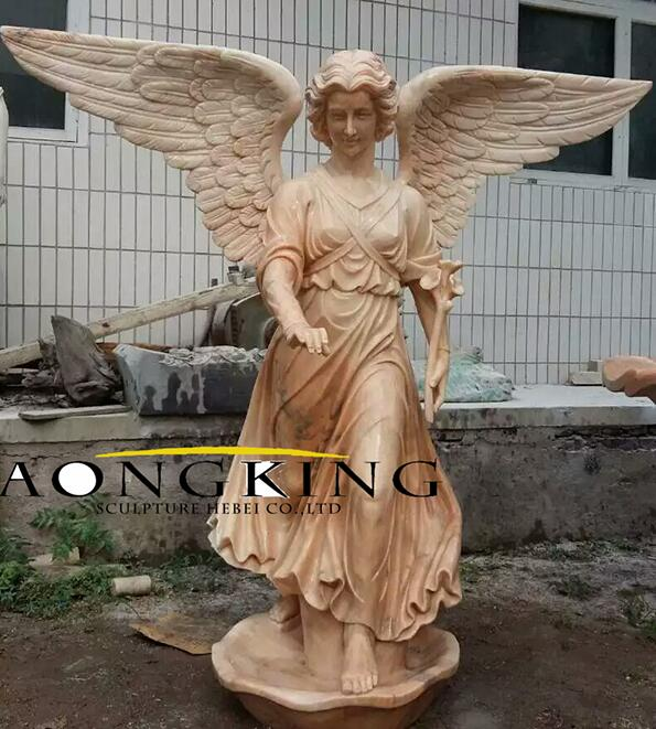 marble winged angel statue