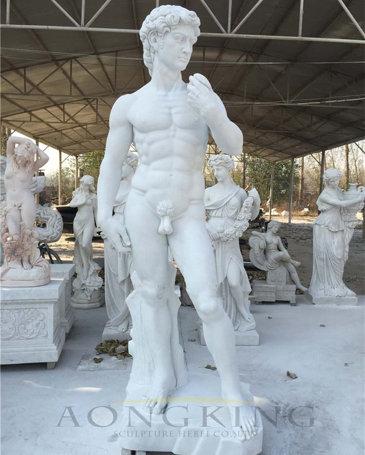greek david marble statue