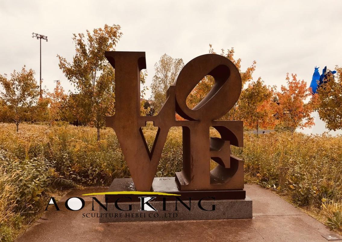 Corten steel sculpture of love