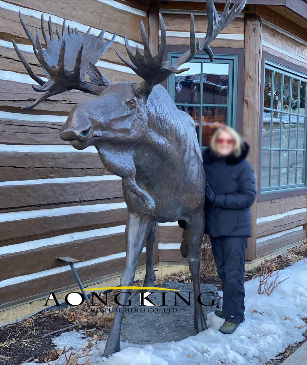 Brass moose statue