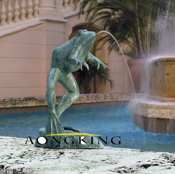 Bronze fountain of frog