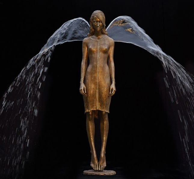Bronze fountain with wings
