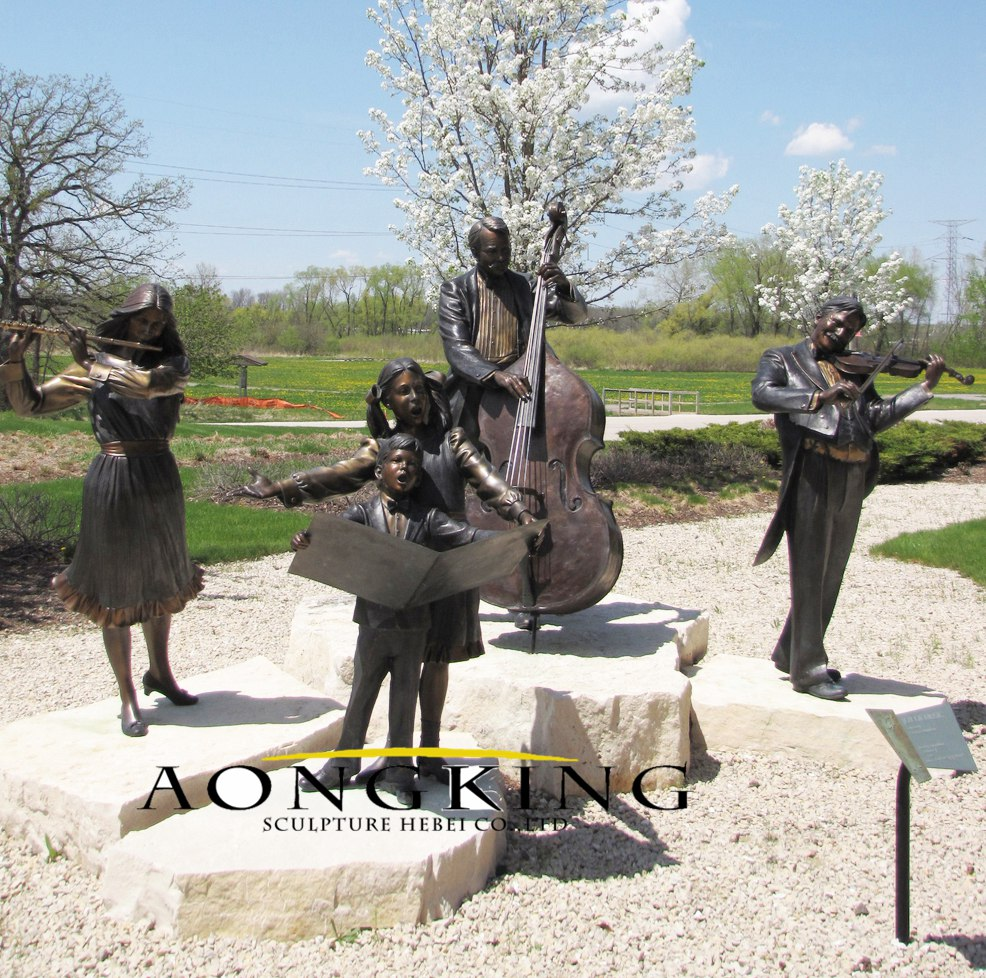 Bronze garden sculpture of music figures