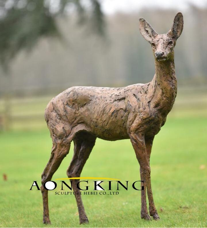 Bronze modern sculpture of deer