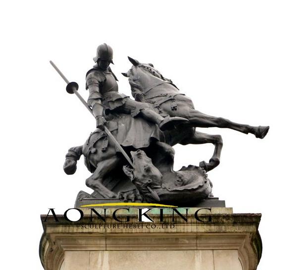 Copper saint george statue