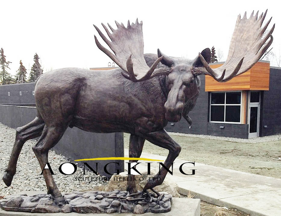 Large size brass moose statue