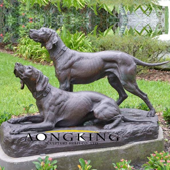 Life size bronze dog statues