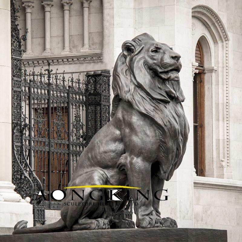 Sitting lion statue for bank door