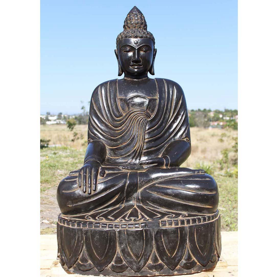 Black marble meditating buddha statue