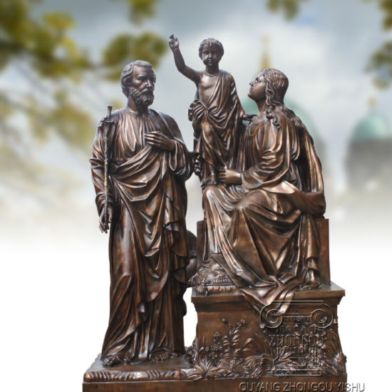 Bronze holy family statue
