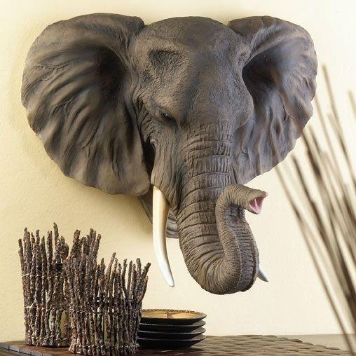 Hanging wall elephant head