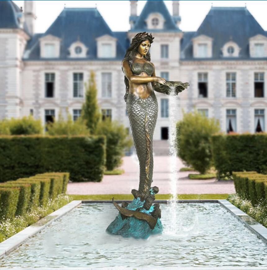 Home standing bronze mermaid