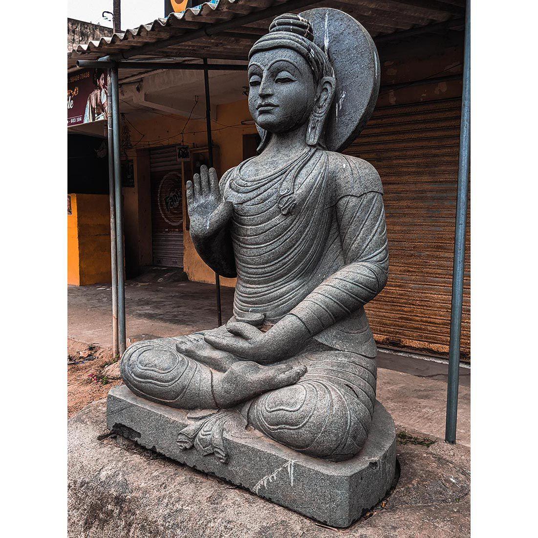 Large size marble buddha sitting cross statue