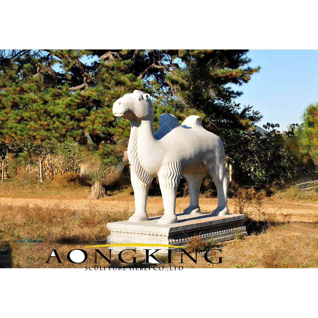 Large size marble camel statue with pedestal