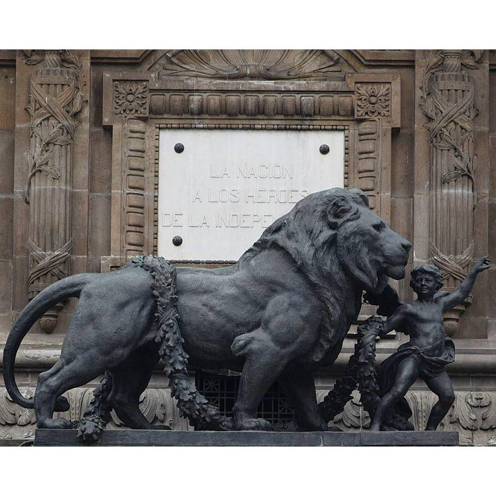 Leading a big lion