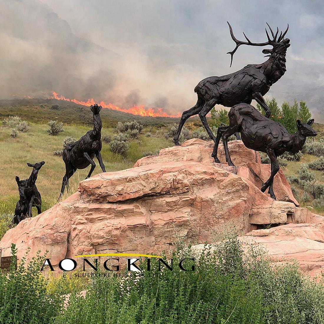 life size bronze deer sculptures