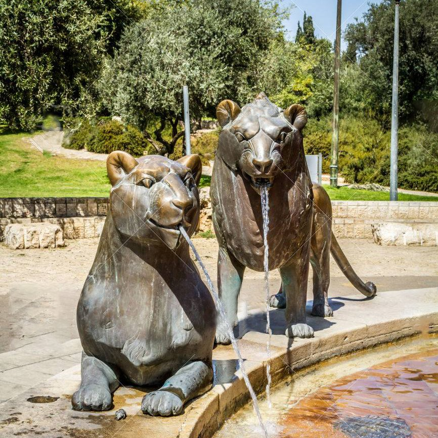 Lions sculptures of fountain