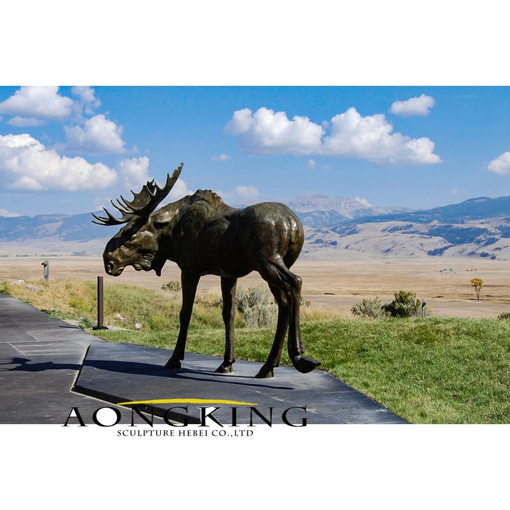 Lonely moose bronze statue