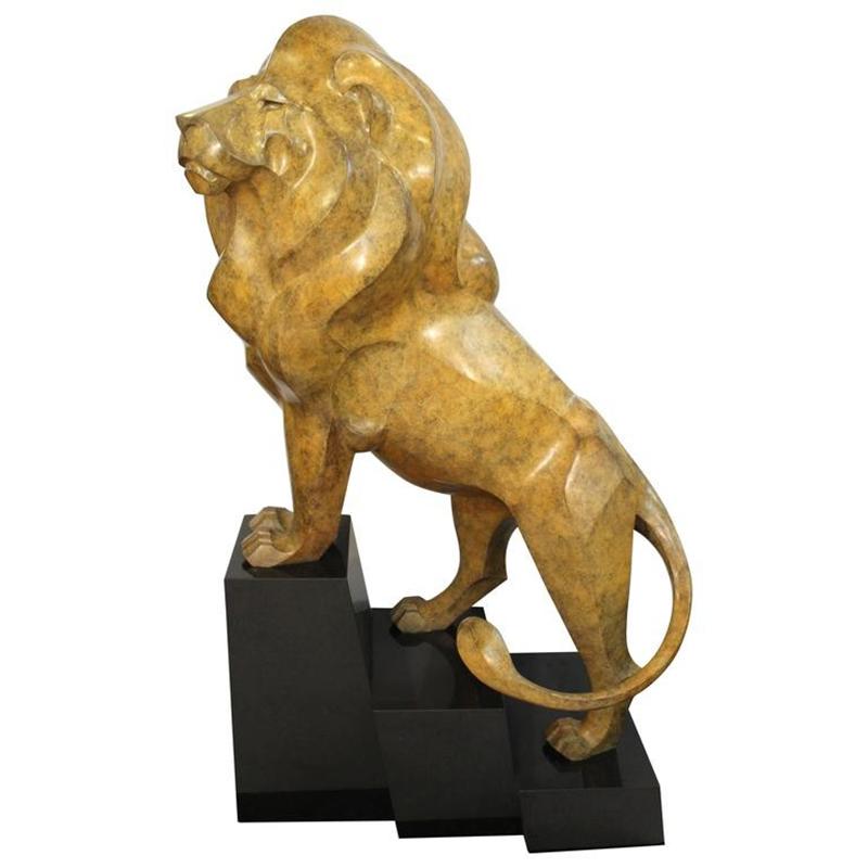 Modern bronze lion sculpture