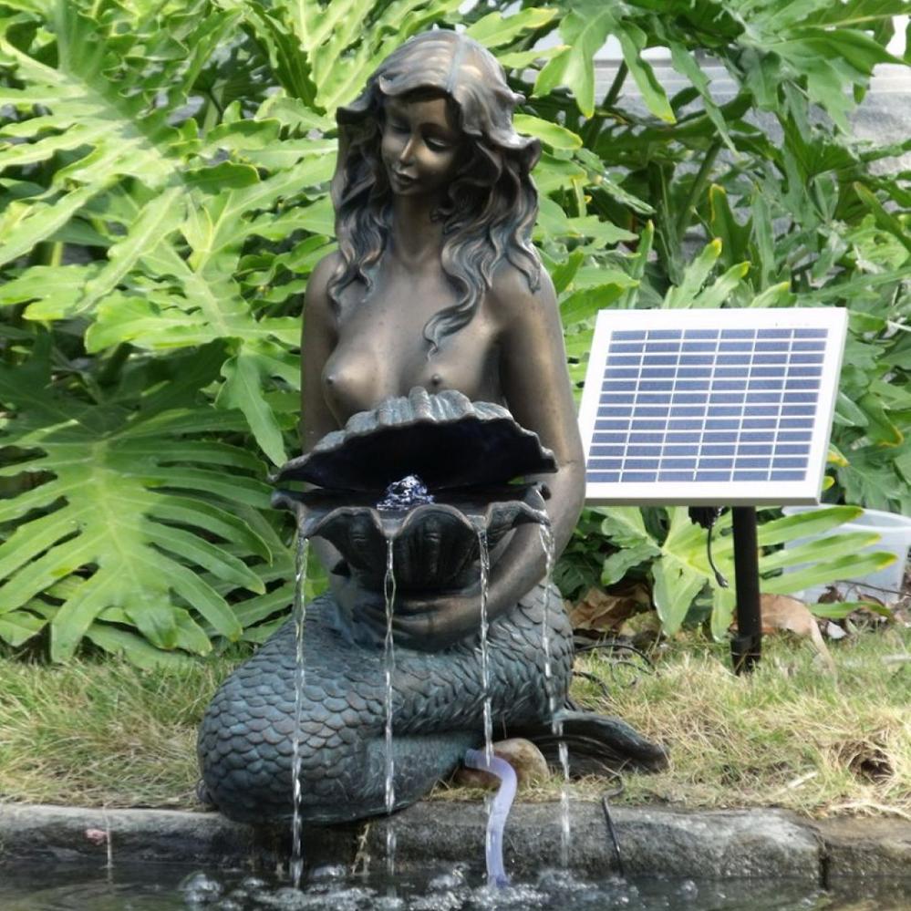 River sitting bronze mermaid