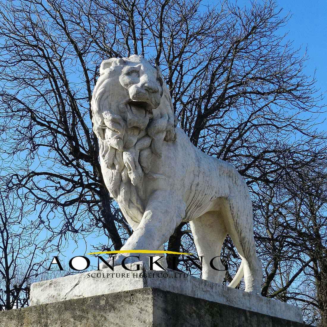 Standing marble ferocious lion statue