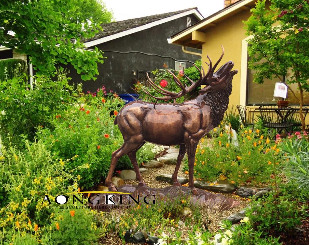 Large elk bronze sculpture