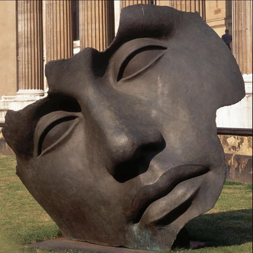 Large size outdoor decoration face bronze statue