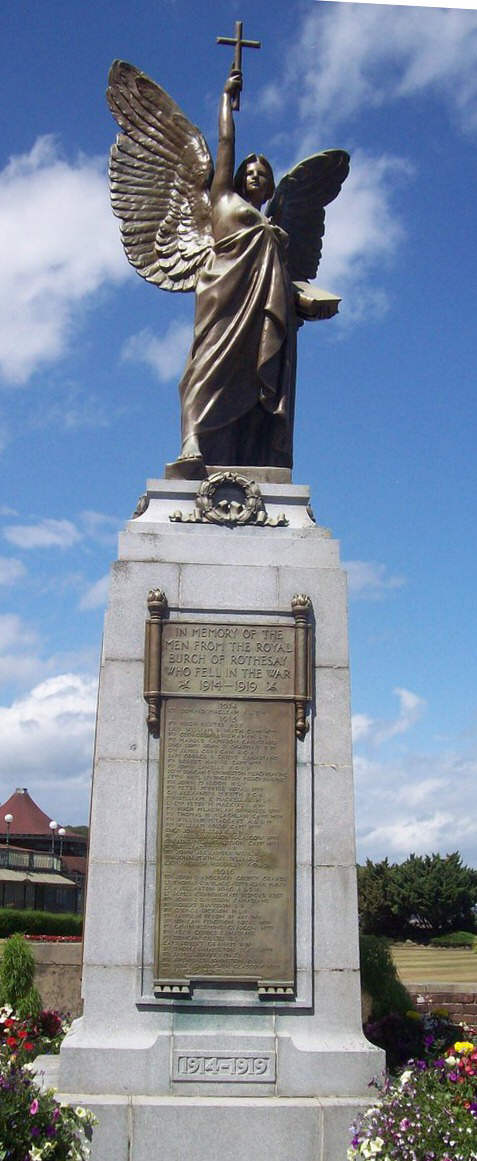 Rothesays war memorial angel holding up a cross sculpture