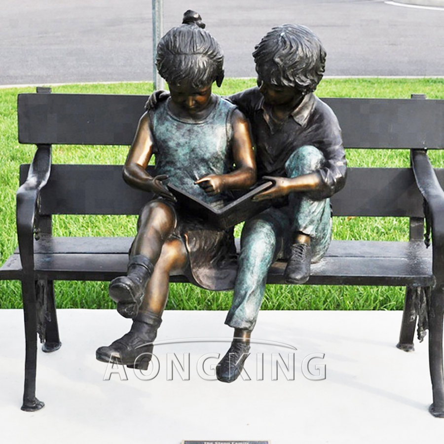Children bronze sculptures