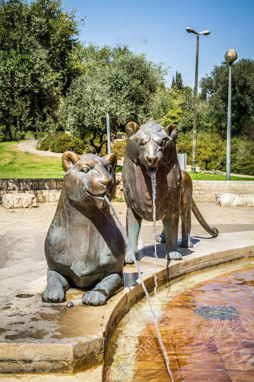 Two Bronze Lions Fountain