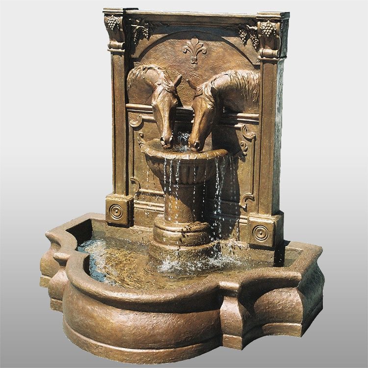 Two Horses Drinking Fountain