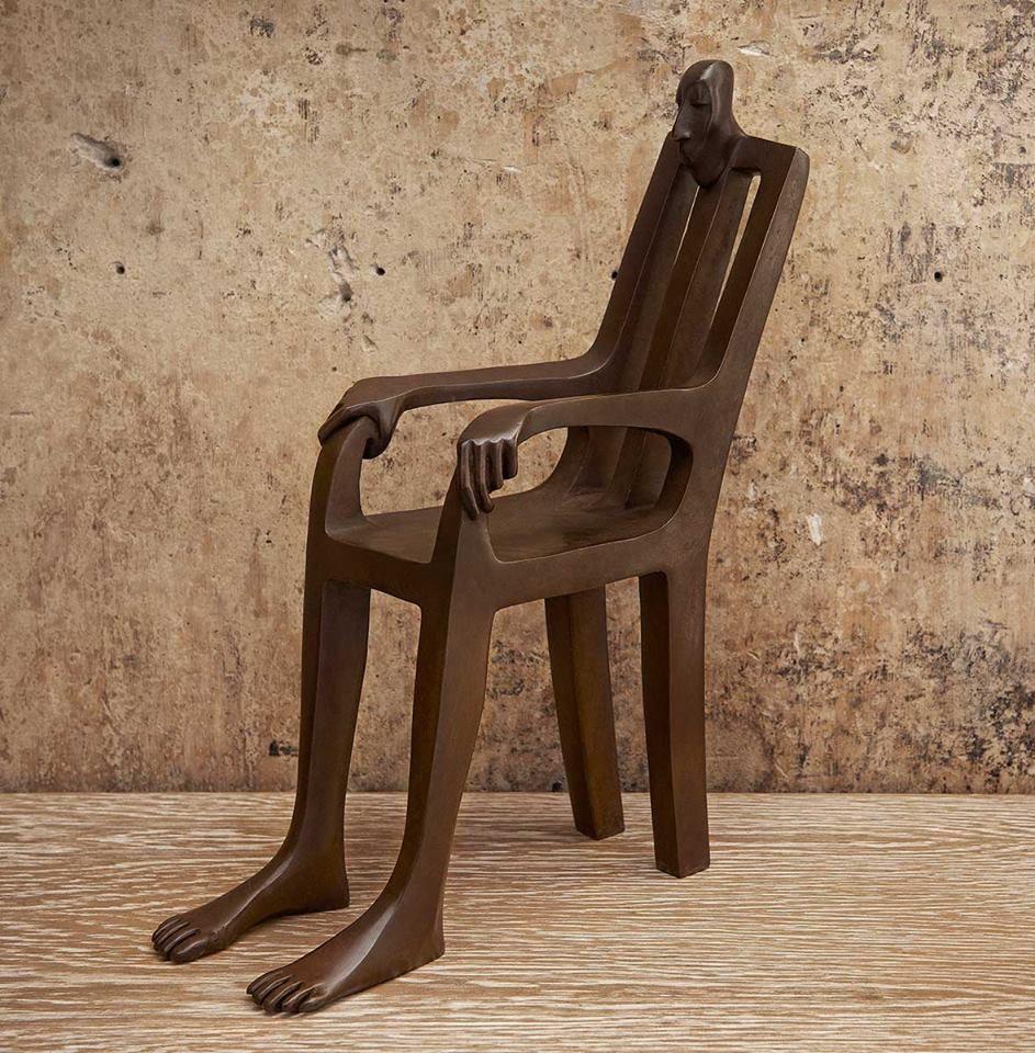 Bronze chair statue
