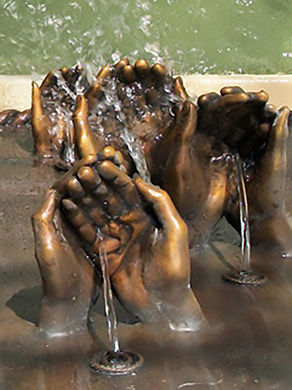 bronze fountain hands sculpture