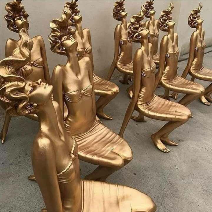 Chair golden bronze statue
