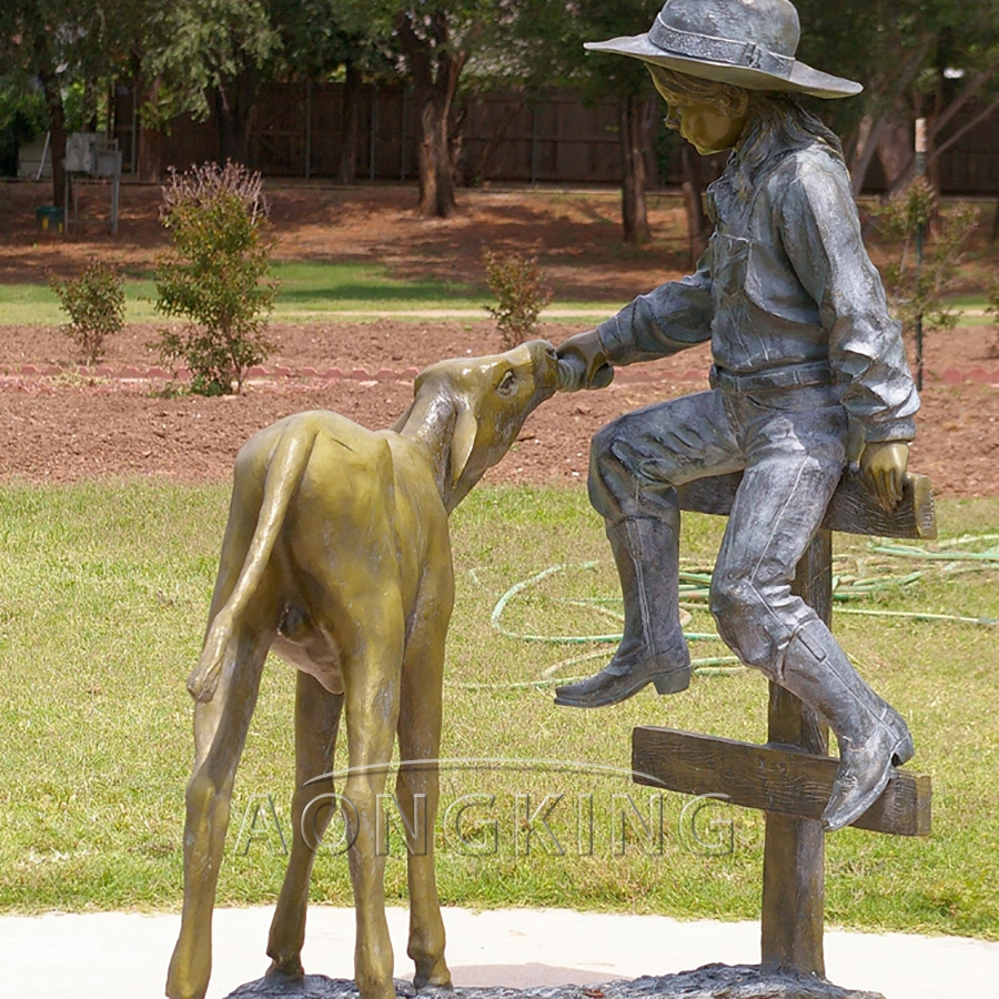 Dog and girl bronze statue