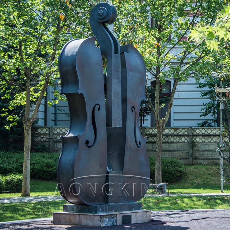 Metal violin bronze sculpture