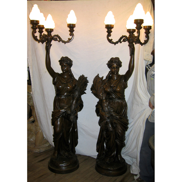 A Pair Bronze Lights Lamps