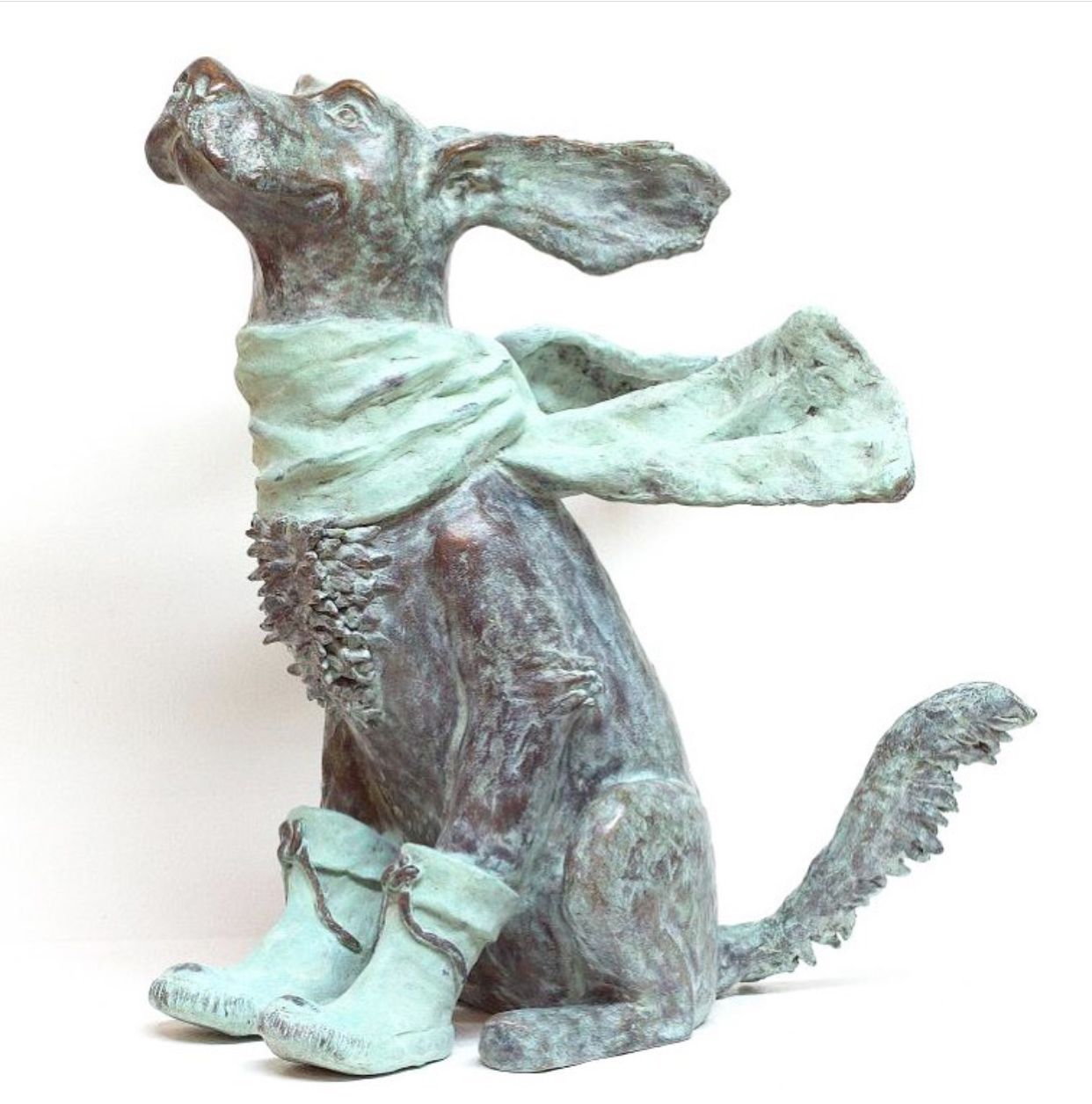 Dog weather XL Bronze Sculpture by Annemarie van der Kolk