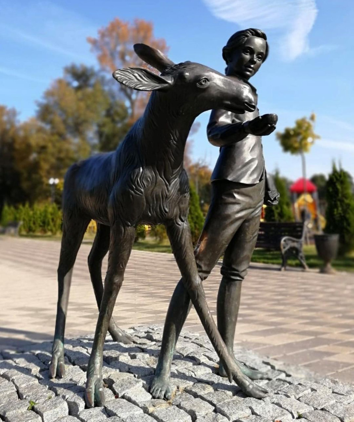Lovely Park Ornament Deer and Boy Black Bronze Statue