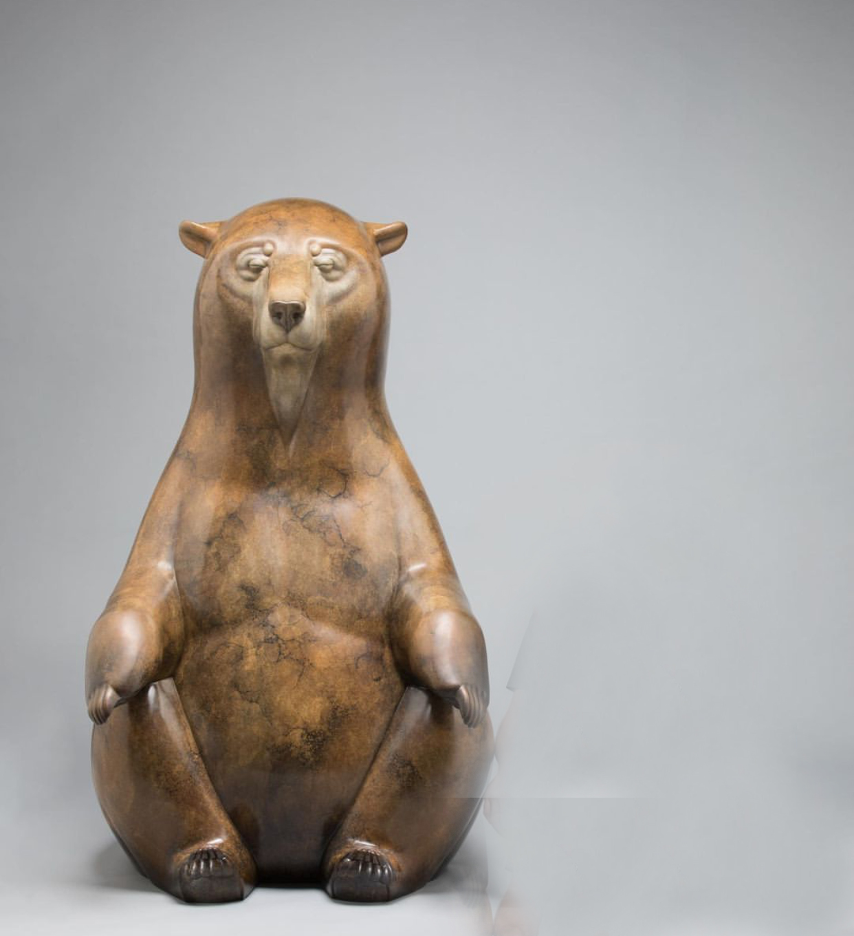 Cute Large Home Ornament Meditating Bear Bronze Statue