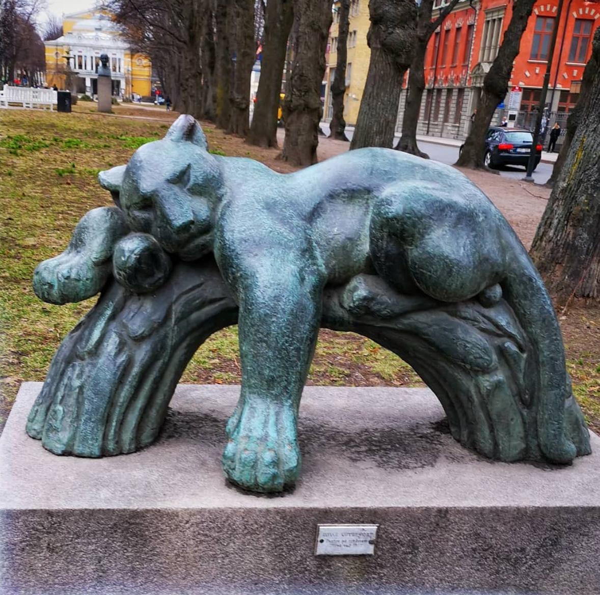 Bronze sleeping lion