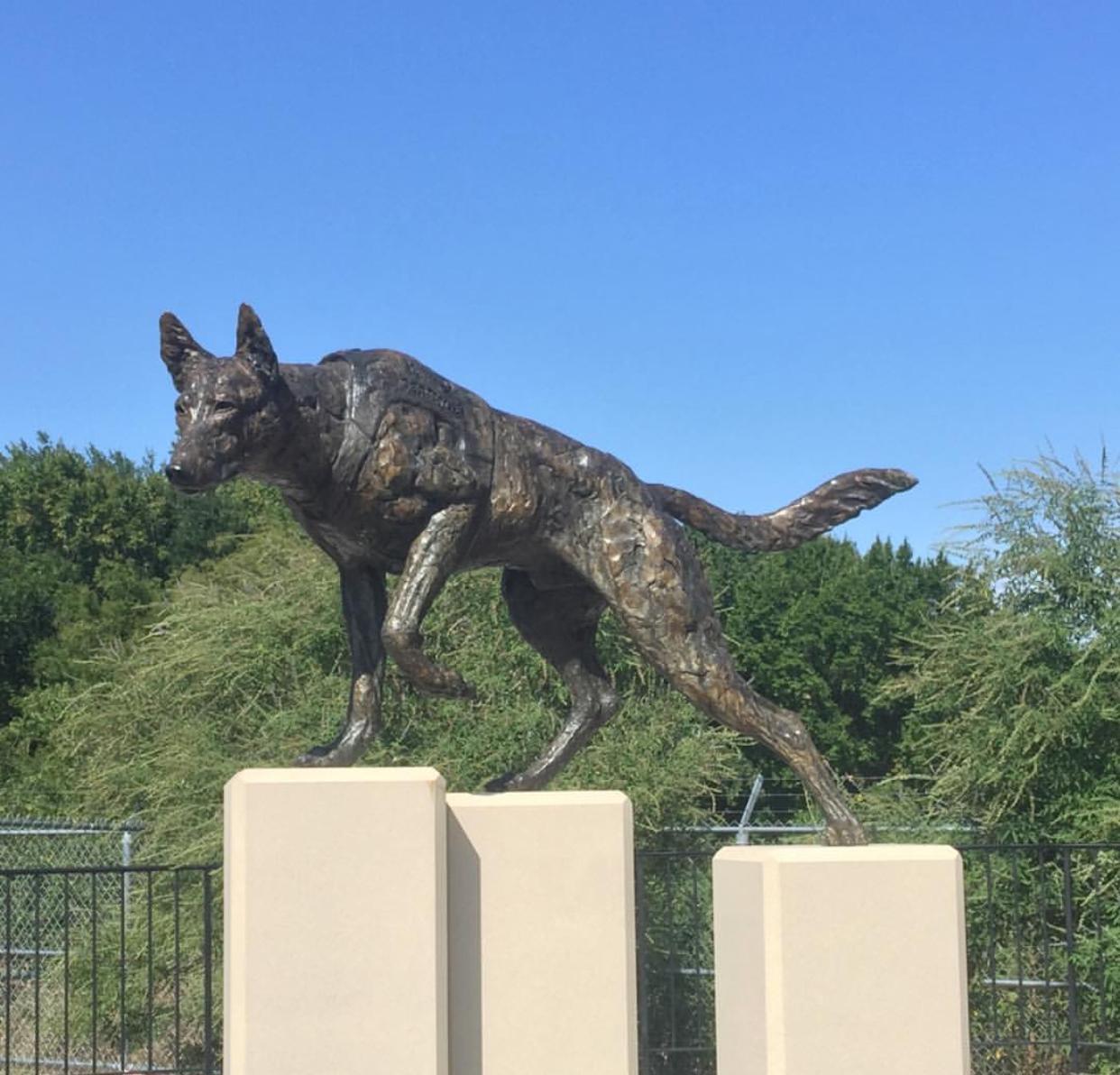 Bronze hound sculpture