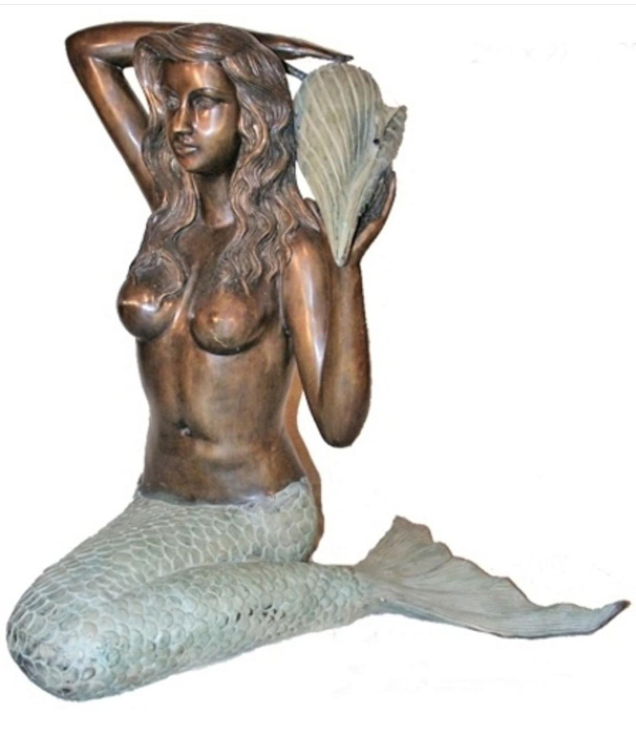 Bronze mermaid fountain sculpture