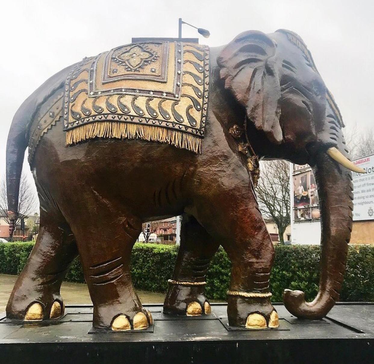 Large bronze elephant sculpture