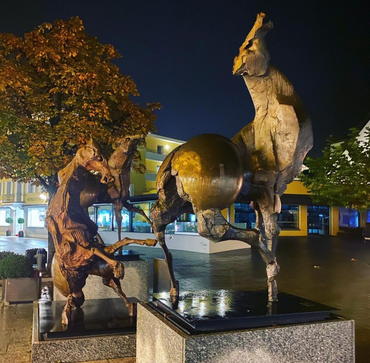 Large war horse sculptures